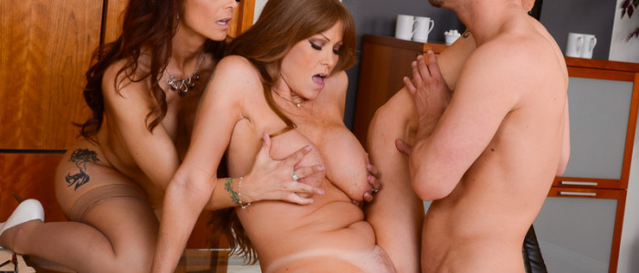 Threesome sex in the office with Syren De Mer and Darla Crane (9)